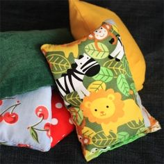 So quick and easy to make, these bean bags are easier to hold than a ball and don't roll away!