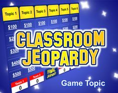 Create your own Jeopardy-style review game with this PowerPoint template!