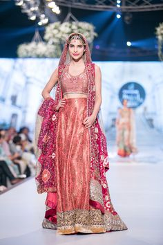 Lengha by Tena Durrani at 2014 PBCW Bridal Collection. Pakistani wedding clothes