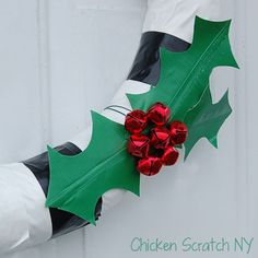 Duck Tape #wreath with Jingle Bell Holly Berries