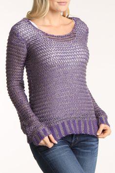 Comfy Long Sleeve Sweater In Purple.