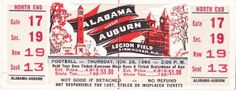 Alabama football art made from a rare untorn 1964 Alabama vs. Auburn football ticket. Joe Namath led Alabama to the 1964 National Championship under legendary coach Bear Bryant. Great Alabama football ticket art for a game room or office! Available on canvas up to 5 feet wide. $274.99