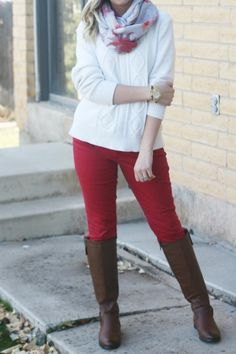 Red Pants + Riding Boots + Floral Scarf   Outfit   http://prettylifeanonymous.blogspot.com   #Floral #Boots #Outfit