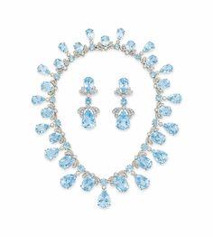 A set of blue topaz and diamond jewelry  #christiesjewels