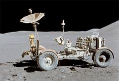Apollo 15 Commander Dave Scott photographed the Lunar Rover at the end of the last EVA.