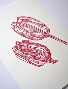 Tulip Lino Print Lino printing could be a technique that I use in my final outcome, i like it because it looks handmade and original and you always get a different outcome every time.