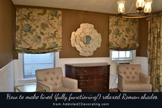 DIY Tutorial:  How to make lined, fully functioning relaxed Roman shades