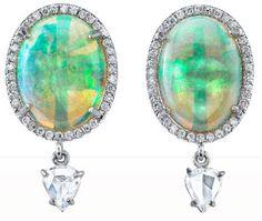 Irene Neuwirth Crystal, Opal & Rose Cut Diamond Drop Earrings Via Diamonds in the Library.