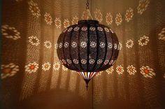Moroccan hanging metal lamp
