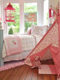 Pink Teepee In Cottage Style Girls Room