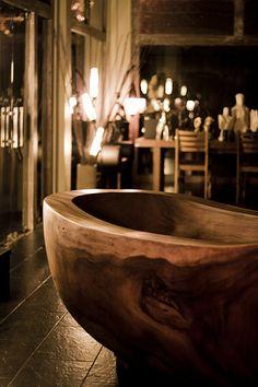 Solid wooden bathtub in a shop in Ubud, Bali.