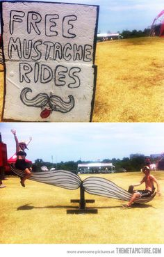 Mustache rides, people are awesome