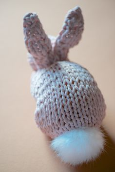 DIY Bunny by lebenslustiger: Made from a simple knitted square! #DIY #Bunny #Knitting