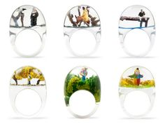 Scenes in plastic rings - I love these.
