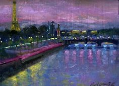"Hall Groat II Paintings: Seine River, Paris, France, Eiffel Tower 9""x12"" Oil on panel"