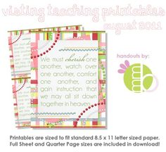 Visiting Teaching Printables