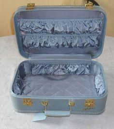 Vintage Lady Baltimore light blue suitcase 18 x 11.5 x 6.5 retro luggage 50s 30 no