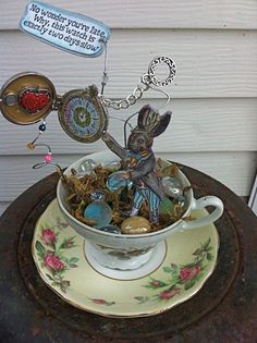 alice in wonderland altered tea cup march hare