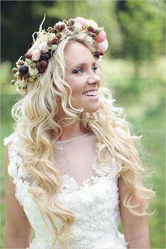 Boho flower crown with fresh blackberries | Brides.com wedding floral, floral arrangements