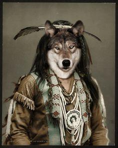 Vintage Native American Wolf Spirt Guide Totem, Ojibwa Tribe