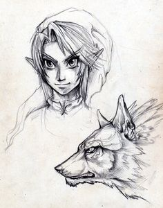 Link and Wolf sketch by `Exileden on deviantART