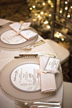 100 idea, wedding planning ideas, gold weddings, place cards, menu cards, wedding menu card, charger plates, round menu, winter weddings