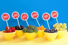 Fruit toppers #kids #party #Superhero