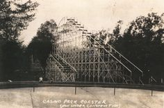 A view of the Casino Park roller coaster in Mansfield, Ohio, being constructed. The coaster was later torn down and replaced with the Coliseum.