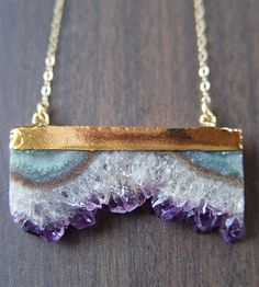 Amethyst druzy gold dipped necklace