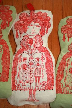 hungarian doll project by sarajo frieden. limited edition, silkscreen and embroidery.