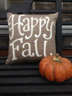 Happy Fall pillow October autumn thanksgiving outdoor by kijsa