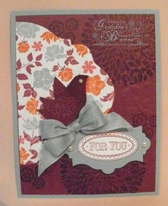 Betsy's Blossoms, Layered Labels, Floral District dsp, Apothecary Accents framelits, Oval Accent Clear die, & Elegant Bouquet embossing folder. Thanks Gretchen!