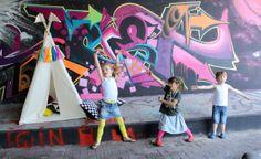 Moozle MIDI size kids teepee tent moozlehome.com and Etsy #teepee #kidsteepeetent #wigwam #grafitti #fox #play #kids #neon #Scenerylabel @scenerylabel