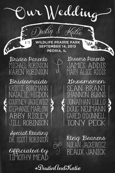 Chalkboard Wedding Program. So much cheaper than making programs that will just be thrown away. Guests can take a picture if they want to have it!