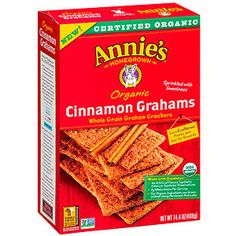 Perfect pre-workout snacks: Annie's Organic Cinnamon Grahams - try 'em before a run!