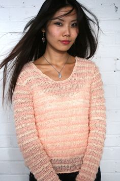 Hand Knitted sweater, Pink Grapefruit, lace weight Merino, Mohair, Alpaca and Silk, Long Sleeves