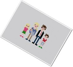 FINISHED Custom Pixel People Portrait  Small by weelittlestitches, $45.00