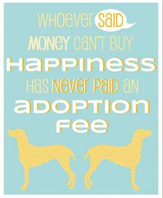 Whoever said money can't buy happiness has never paid an Adoption Fee