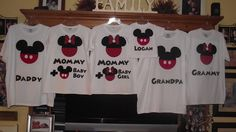 Minnie Mickey Mouse Baby Gender Announcement - Disney Birthday Family Custom T-Shirt Personalized Applique Top. $18.00, via Etsy.