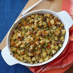 Thanksgiving recipes: Herbed Apricot-Pecan Stuffing - such a yummy fruit-and-nut stuffing that everyone will love.