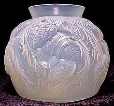 French Art Deco Bird Vase by Sabino 1920's Opalescent glass  via trocadero.com