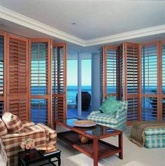 Coastal Wood Shutters in Living Room
