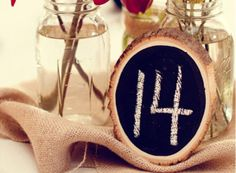 Chalkboard Table Numbers. Made using all natural methods to dry and preserve the materials. | Green Bride Guide