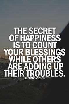 The secret to happiness ...