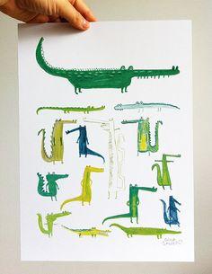 Erica Salcedo illustration // Crocodiles print via Etsy