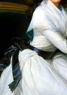 For daily wear and for portraits, Vigée Le Brun favored white muslin dresses in this style for what she saw as their timeless, classical simplicity. Detail from Comtesse de la Châtre (Marie Louise Perrette Aglaé Bontemps, 1762–1848), Later Marquise de Jaucourt by Élisabeth Louise Vigée Le Brun  (French, Paris 1755–1842 Paris), 1789. The Met