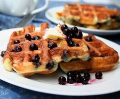 Coconut Flour Waffles with Blueberries - a wonderful healthy breakfast #sugarfree