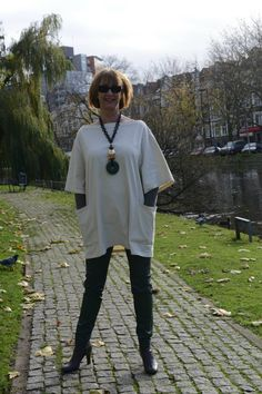 Green coated skinnies with cream tunic 7