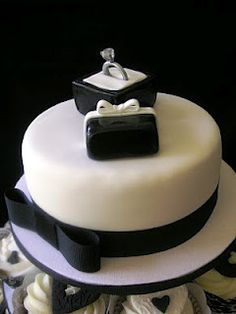 black and white... engagement party cake!!!