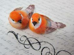 2pcs Birds - 2'' Orange by NatashaScrapbooKorner for $3.99